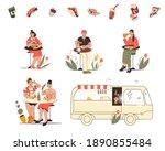 street food festival or market...   Shutterstock .eps vector #1890855484