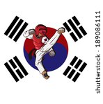 Taekwondo martial. flag korean background