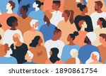 crowd of young and elderly men... | Shutterstock .eps vector #1890861754