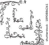 set of decorative drawn corners ... | Shutterstock .eps vector #1890886261