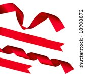strips of red shiny ribbon and... | Shutterstock . vector #18908872