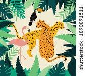leopards  flamingo  toucan and...   Shutterstock .eps vector #1890891511