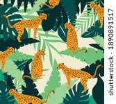 leopards and tropical leaves...   Shutterstock .eps vector #1890891517