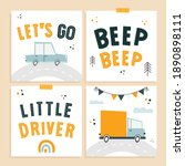 cards with simple childish ... | Shutterstock .eps vector #1890898111