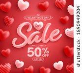 valentine's day sale 50  off... | Shutterstock .eps vector #1890949204