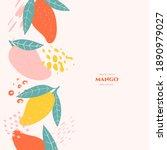 vector frame with doodle mango... | Shutterstock .eps vector #1890979027