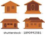 wooden house on the roadside... | Shutterstock .eps vector #1890992581