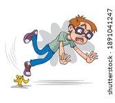 boy slipping on banana peel  ... | Shutterstock .eps vector #1891041247
