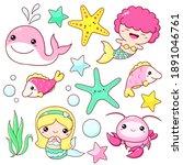 set of mermaid icons in kawaii... | Shutterstock .eps vector #1891046761