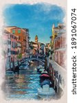 Watercolor Drawing Of Venice...