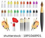 artist paint tube and brush... | Shutterstock .eps vector #1891068901