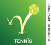 bouncing tennis ball on green... | Shutterstock .eps vector #1891075894