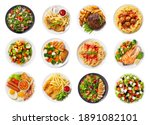 Set Of Various Plates Of Food...
