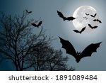 decor with bats for halloween...   Shutterstock . vector #1891089484