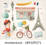 Set of elements, famous buildings and decorations from Paris, France
