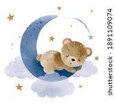cute little teddy bear sleeping ...   Shutterstock .eps vector #1891109074