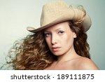 portrait of a woman in a cowboy ... | Shutterstock . vector #189111875