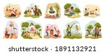 people with pets. happy owners... | Shutterstock .eps vector #1891132921