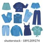 denim clothes. fashion jeans... | Shutterstock .eps vector #1891209274