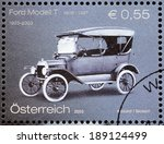 Small photo of AUSTRIA - CIRCA 2003: A stamp printed by AUSTRIA shows The Ford Model T (colloquially known as the Tin Lizzie or Tin Lizzy) - first automobile mass-produced on moving assembly lines, circa 2003.