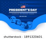 """Happy Presidents Day card with Rushmore four presidents background and lettering """"Happy President"""