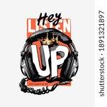 listen up slogan with headphone ... | Shutterstock .eps vector #1891321897