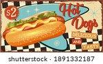 vintage hot dogs metal sign...   Shutterstock .eps vector #1891332187