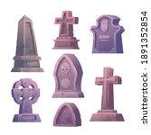 cemetery tombstones  graveyard...   Shutterstock .eps vector #1891352854