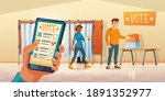 polling place and mobile app... | Shutterstock .eps vector #1891352977