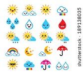 Cute sun, rainbow, moon, rain and cloud - Kawaii, Manga icons
