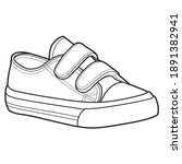 shoe line drawing. shoes... | Shutterstock .eps vector #1891382941