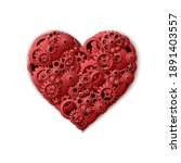 3d realistic vector red heart... | Shutterstock .eps vector #1891403557
