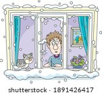 funny young man with his cat... | Shutterstock .eps vector #1891426417