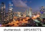 Tel Aviv Night Aerial Panorama. ...