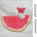 kids naive drawing watermelon...   Shutterstock .eps vector #189145565