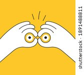 Hand gesture symbolizing binoculars, magnification, looking into the distance, point of view. Vision, prediction, look forward. Flat line vector illustration on yellow.
