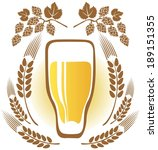 beer glass and wheat ears on a... | Shutterstock . vector #189151355
