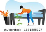 woman keep money under bed...   Shutterstock .eps vector #1891555327