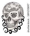 art skull day of the dead. hand ...   Shutterstock . vector #189155897