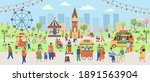 spring park with people. big... | Shutterstock .eps vector #1891563904
