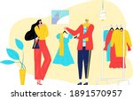 friend woman and man together... | Shutterstock .eps vector #1891570957