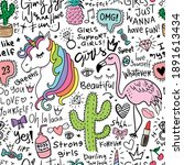 amazing doodle set with unicorn ... | Shutterstock .eps vector #1891613434