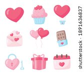 love and valentine icons set... | Shutterstock .eps vector #1891636837