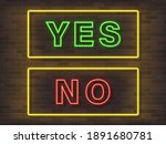 yes no neon text vector. yes no ... | Shutterstock .eps vector #1891680781