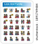 love and family icons set. ui...