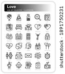love  icons set. ui pixel...