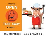 we're open take away only sign... | Shutterstock .eps vector #1891762561
