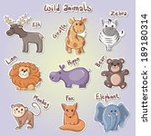 set of cartoon wild animals... | Shutterstock .eps vector #189180314