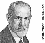 Small photo of Sigmund Freud Portrait from Austria Banknotes. Austrian neurologist who founded the discipline of psychoanalysis. Sigmund Freud (1856-1939)