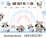 weekly planner with funny... | Shutterstock .eps vector #1891902787